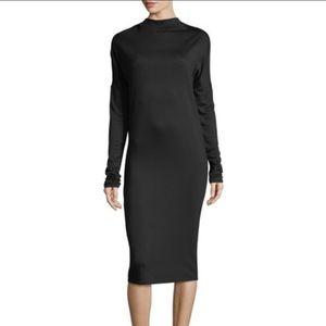 Theory Black Jersey Draped Mock Neck Dress